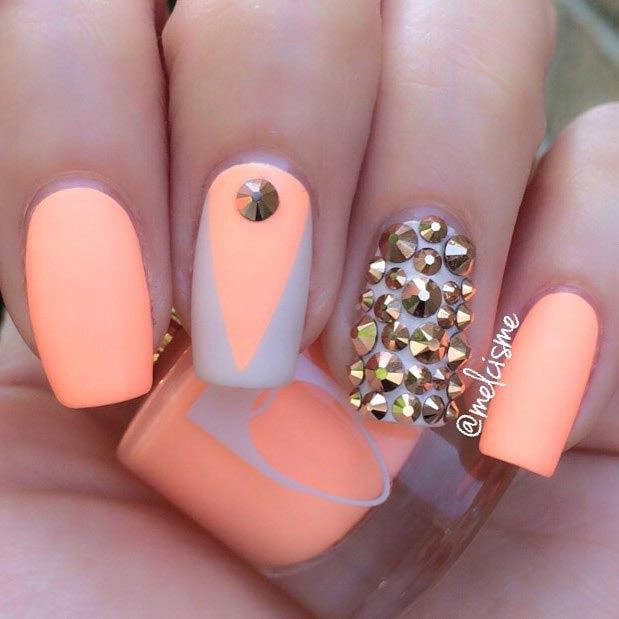 21 Matte Neon Orange Nail Design for Beach