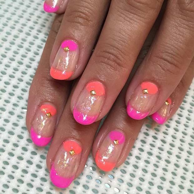 22 Matte Neon Orange Nail Design for Beach