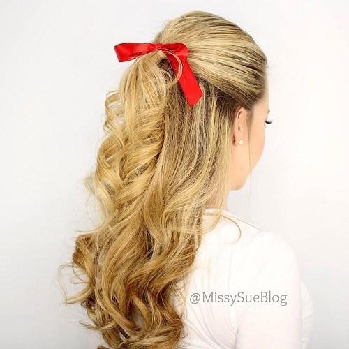 22 blonde curly half ponytail