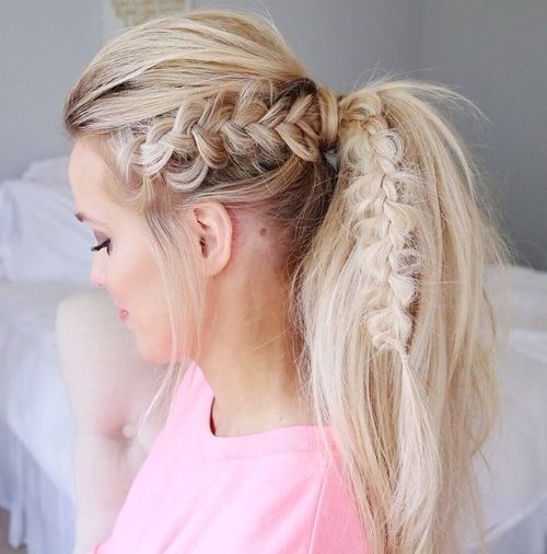 22 blonde tousled ponytail with a bouffant and braid