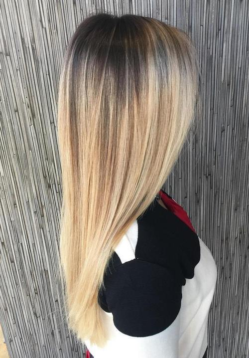 24 long straight blonde balayage hair