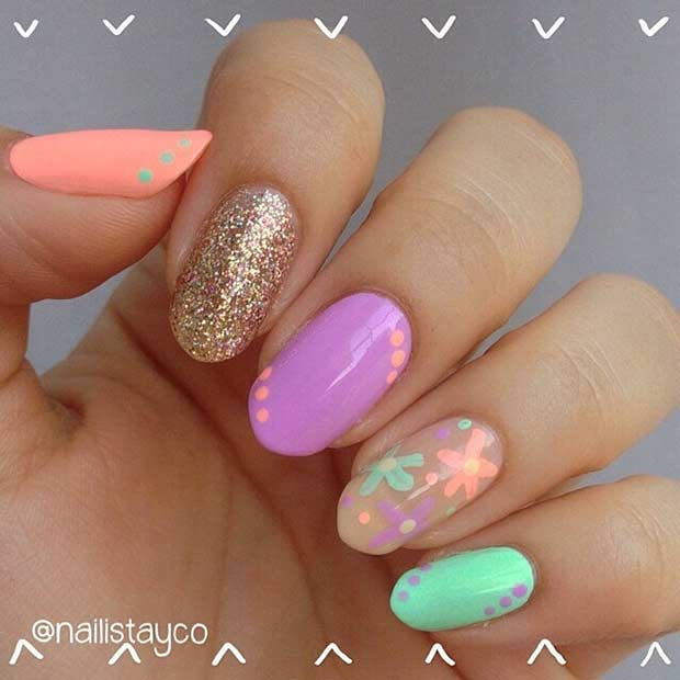 26 Bright and Colorful Nail Design for Beach