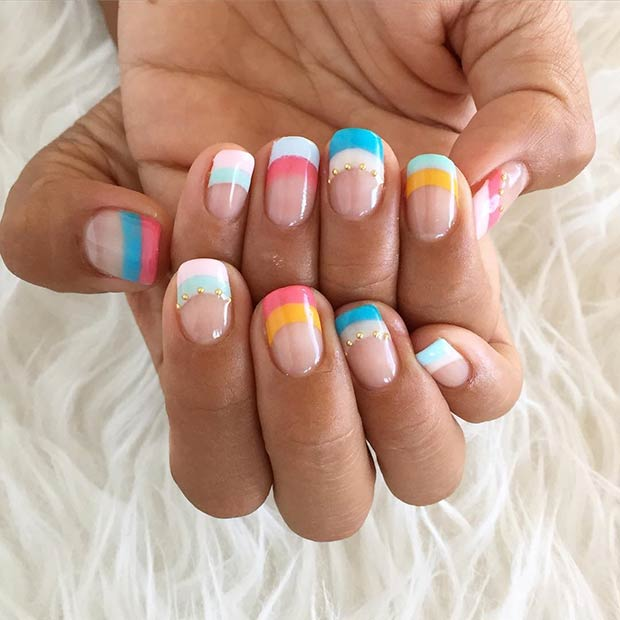 28 Easy Striped Nail Design for Summer