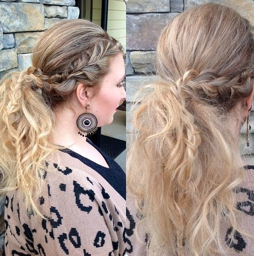 29 pretty messy pony with braided section
