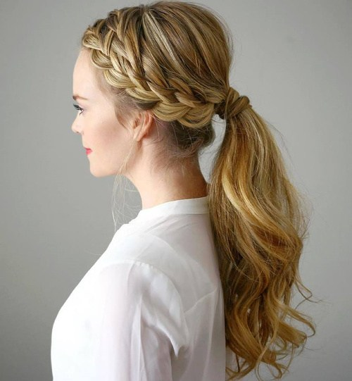 3 low ponytail with a double side braid