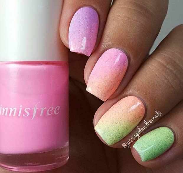 30 Rainbow Ombre Glitter Nail Design