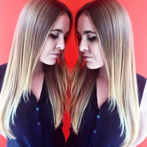 32 sleek and straight brown blonde hair