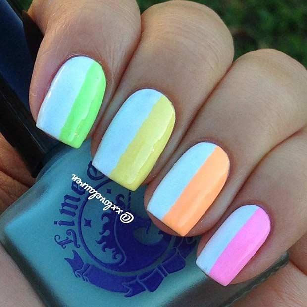 34 Neon Vertical Stripes Nail Design