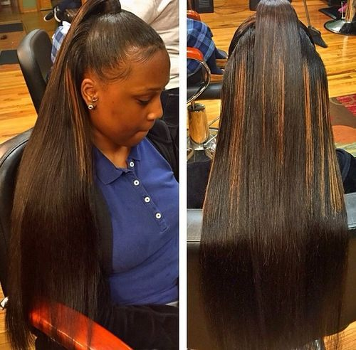 38 sleek straightened black hair