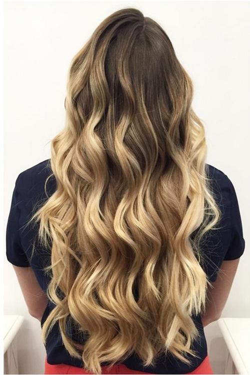 4 waist length ombre curls