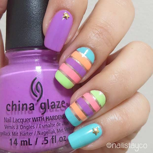 5 Colorful Striped Nail Design for Summer
