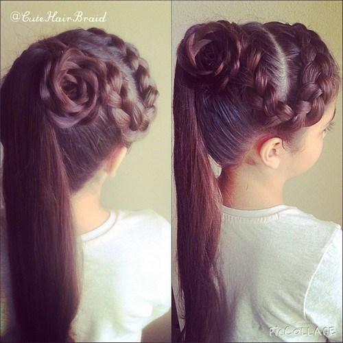 5 flower braid ponytail