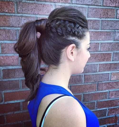 5 ponytail with a bouffant and side braid