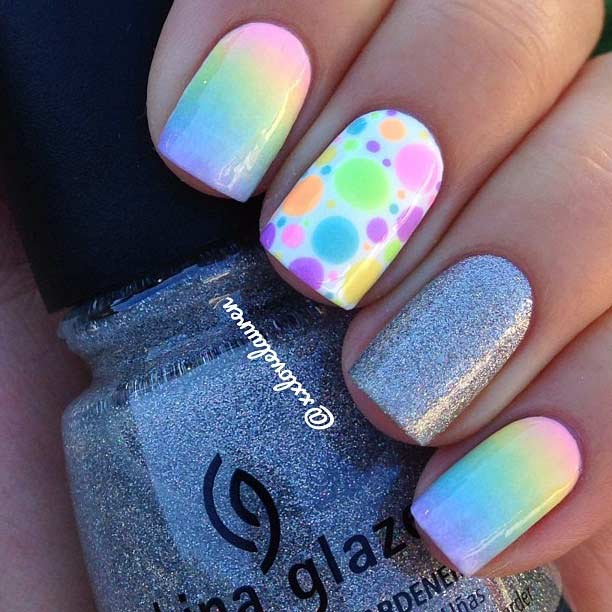 6 Rainbow Ombre Nail Design for Summer