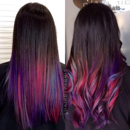 6 multicolored ombre with rainbow strands