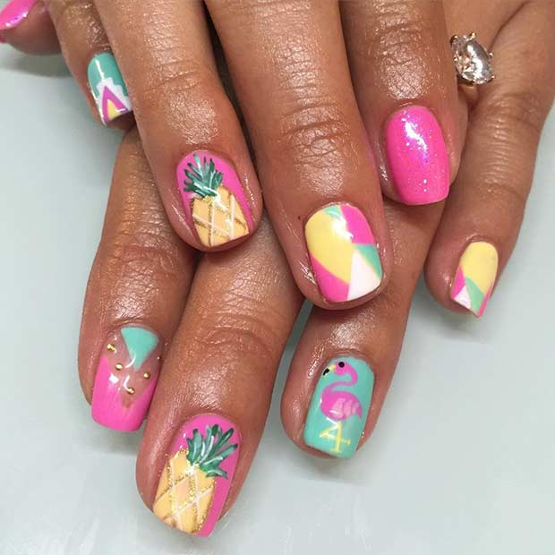 7 Pink and Yellow Pineapple Nails for Summer