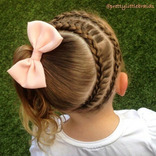 8 double circular braid and side pony