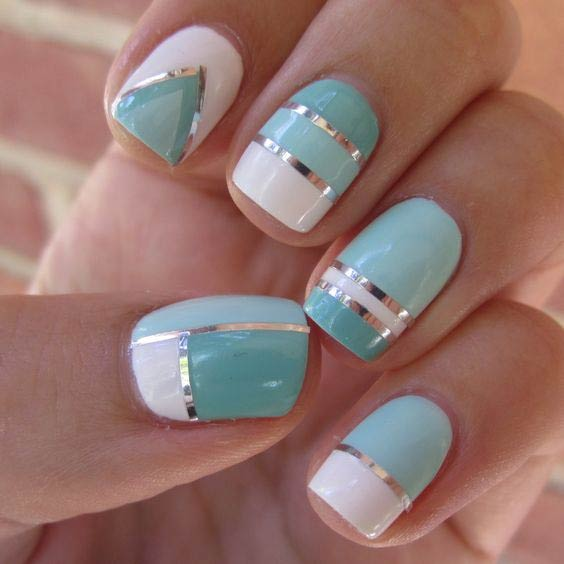 35 bright summer nail designs page 9 foliver blog 9 blue and white nail design for summer prinsesfo Images