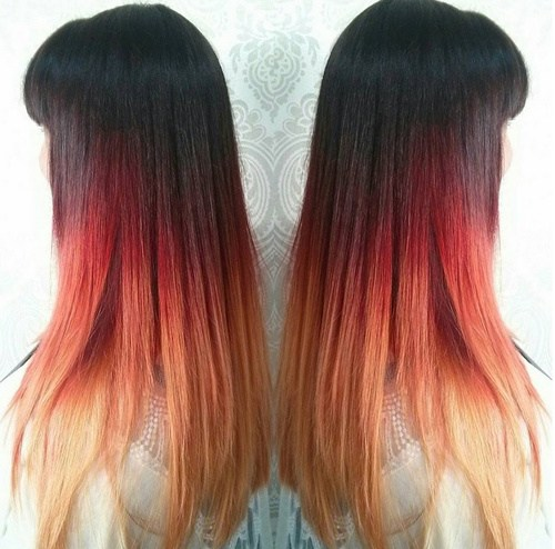 9 black red blonde ombre hair with bangs