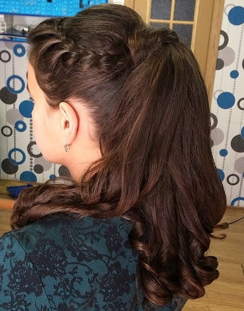 9 brunette pony with braided bang