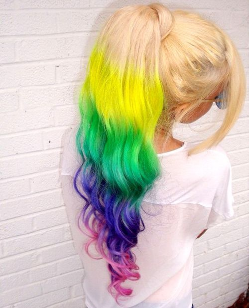 9 long blonde ponytail with rainbow color