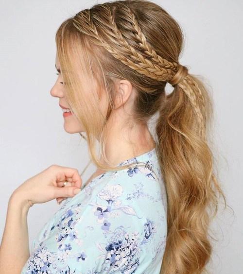 9 ponytail with three side braids