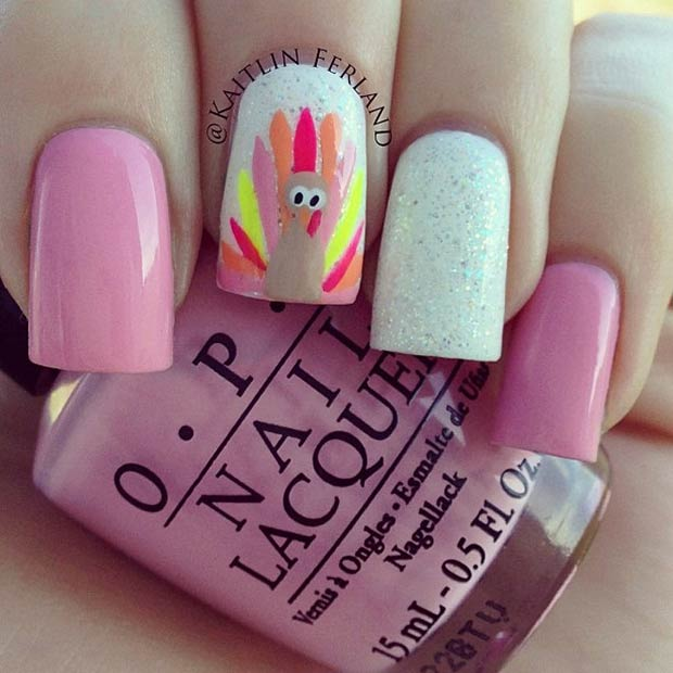 1 Pink Nails Colorful Turkey