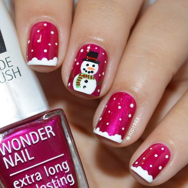 1 Red Nails With A Snowman