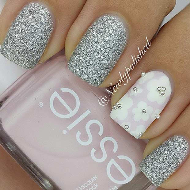 1 Silver Flower Nail Design