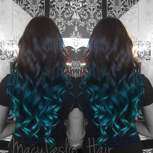 1 flowing dark brown into turquoise curls