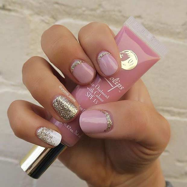 55 super easy nail designs page 10 foliver blog 10 cute pink and glitter nail design for short nails prinsesfo Gallery