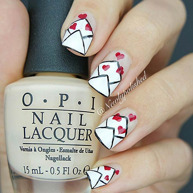 10 Love Letters Valentines Day Nails