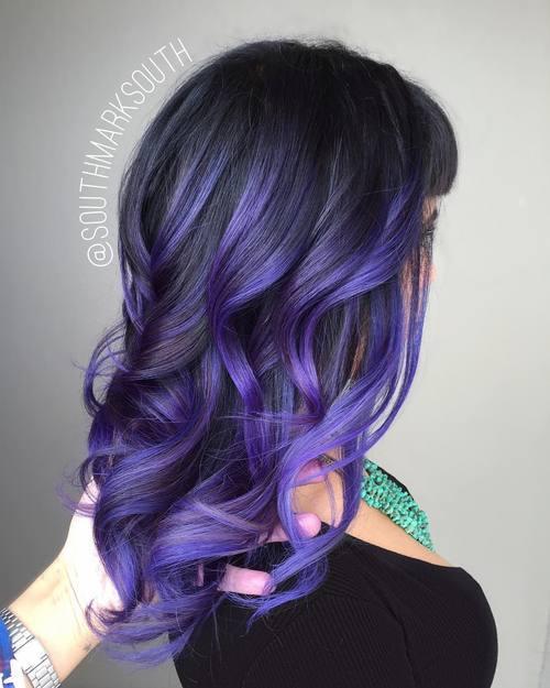 10 purple balayage for black hair