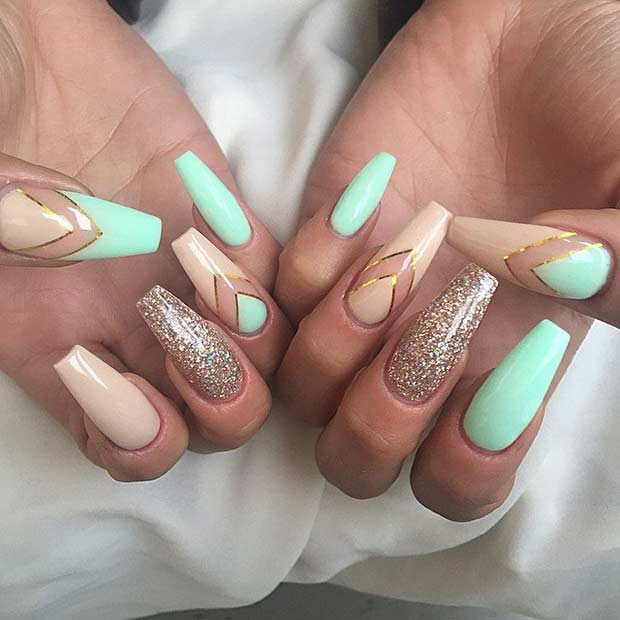 31 trendy nail art ideas for coffin nails page 11 foliver blog 11 neutral and mint coffin nail design prinsesfo Gallery