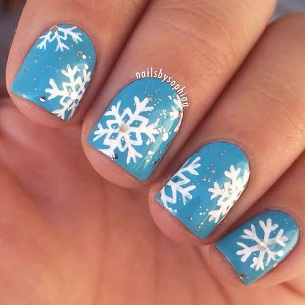 11 White Blue Snowflakes