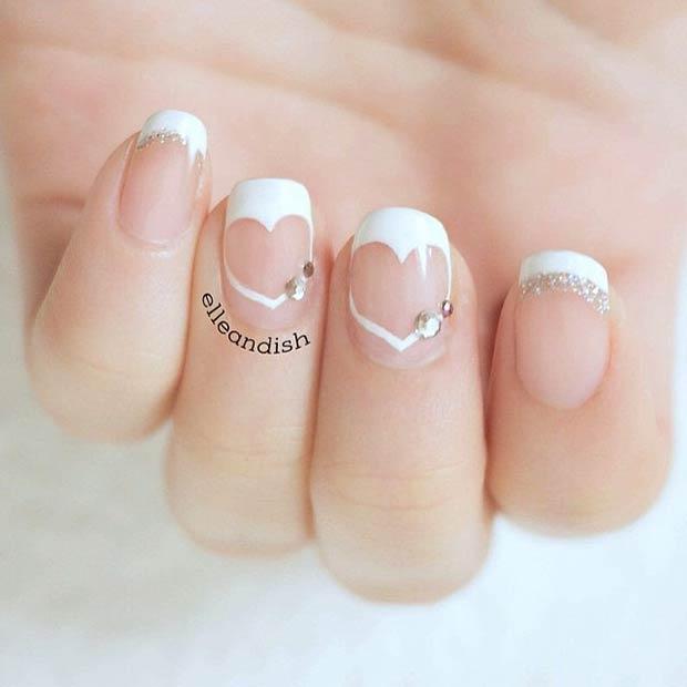 11 White Heart Valentines Day Nails