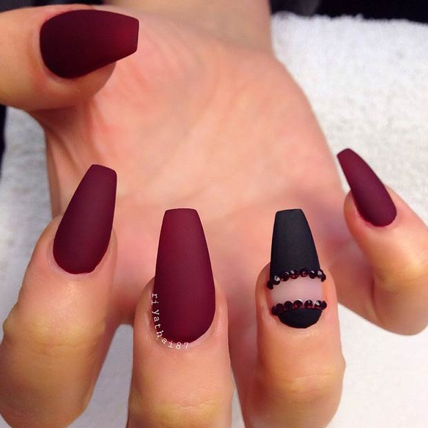 12 Burgundy Matte Coffin Nails - 25 Matte Nail Designs You'll Want To Copy This Fall – Page 12