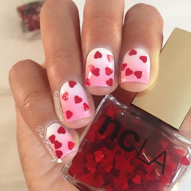 12 Pink and White Ombre Nails with Red Hearts