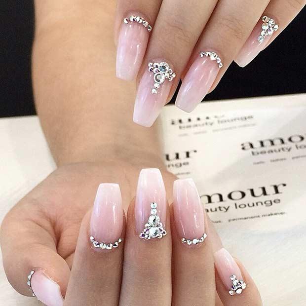 12 Sparkly Rhinestone Wedding Nails