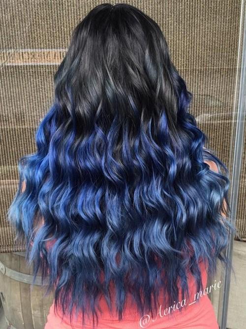 12 long black into blue ombre hair