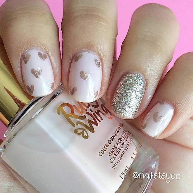 55 super easy nail designs page 13 foliver blog 13 cute heart nail design for short nails prinsesfo Image collections