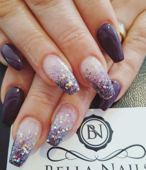 13 Purple Glitter Coffin Nail Design