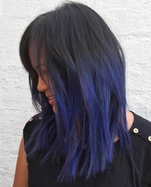 40 cool ideas of lavender ombre hair and purple ombre page 13 13 medium layered black hair with blue highlights pmusecretfo Choice Image