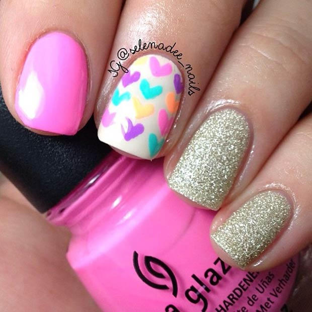 14 Pink and Gold Valentines Day Nails