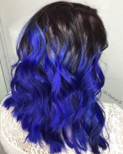 14 brown to indigo blue ombre