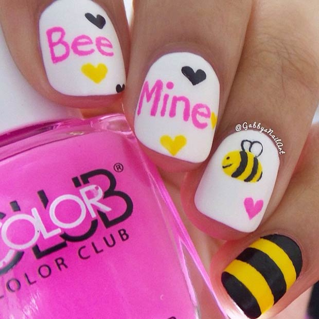 35 cute valentines day nail art designs page 15 foliver blog 15 cute bee mine valentines day nails prinsesfo Choice Image