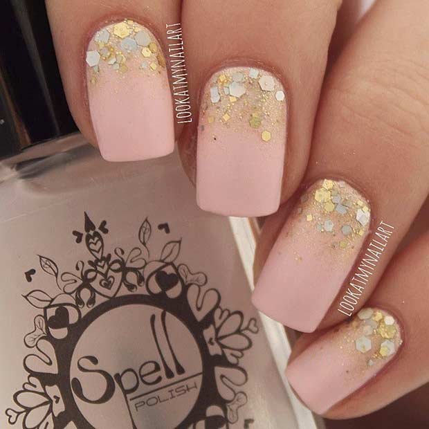 55 super easy nail designs page 15 foliver blog 15 easy gold gradient and matte nail design prinsesfo Choice Image