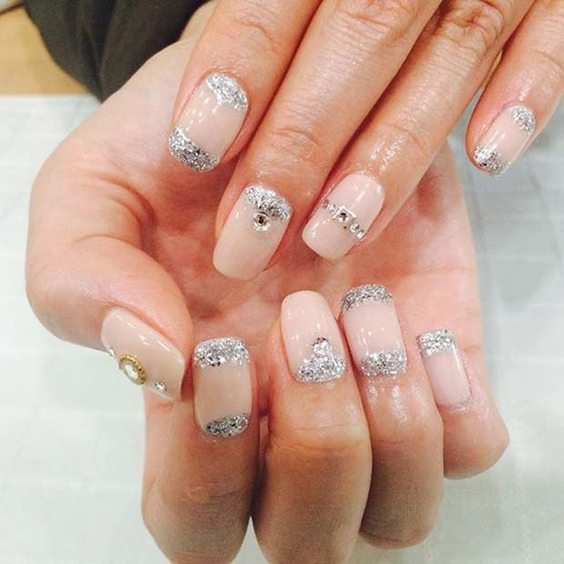 31 elegant wedding nail art designs page 15 foliver blog 15 silver glitter wedding nail design prinsesfo Image collections
