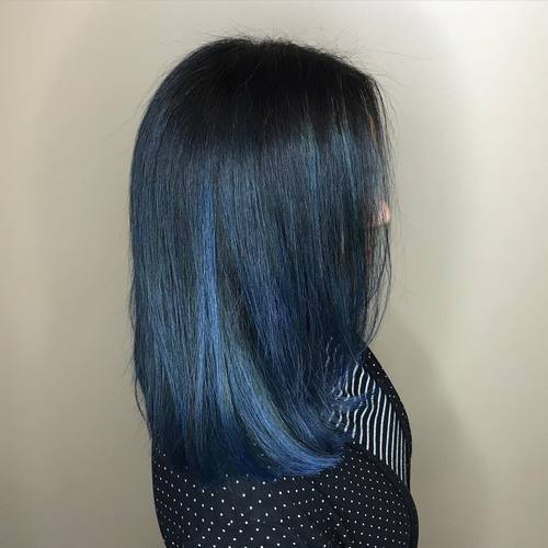 Black blue hair dip dye