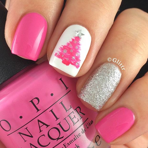 31 christmas nail art design ideas page 17 foliver blog 17 pink christmas nails prinsesfo Gallery
